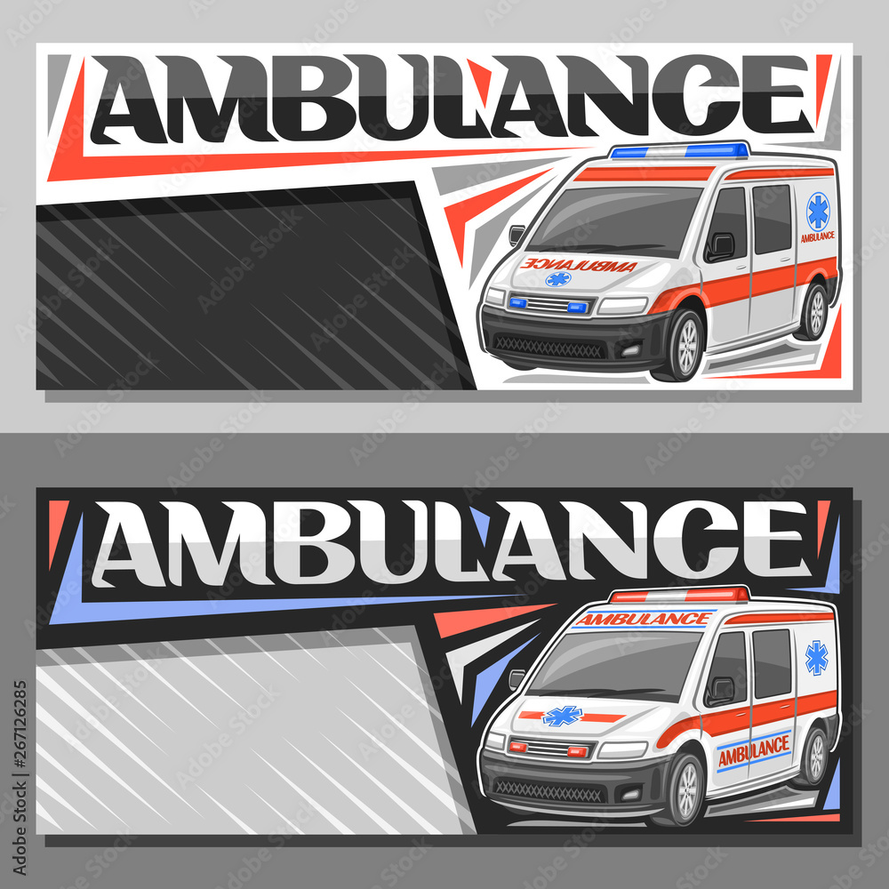 Fototapety, obrazy: Vector layouts for Ambulance with copy space, sign boards with white van for emergency with blue and red alarm flashers, original typeface for word ambulance, horizontal signage for first aid station.
