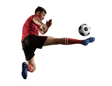 One Caucasian Soccer Player Man Isolated