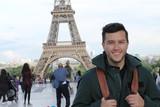 Fototapeta Fototapety z wieżą Eiffla - Ethnic tourist in the Eiffel Tower, Paris
