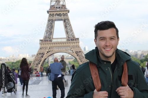 Ethnic tourist in the Eiffel Tower, Paris