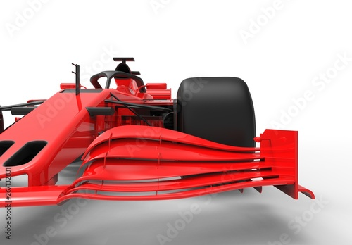 Foto op Canvas Cars Detailed close up 3D rendering illustration of the front wing of a modern red sports race car isolated in white studio background without stickers