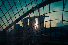 Sunset View Of Marina Bay Sands Through The Window Of Gardens By The Bay