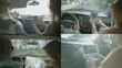 Collage of rear views of woman showing route to driver on phone, laptop, tablet and map, navigating. Travel, holiday concept