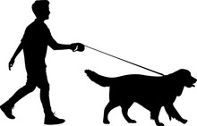 Walking A Dog 10 Isolated Vector Silhouette