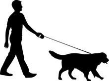 Walking A Dog 4 Isolated Vecto...