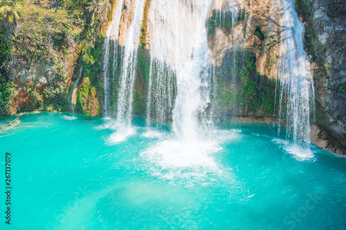 Printed kitchen splashbacks Forest river The amazing turquoise waterfalls of Chiflon in Chiapas, Mexico