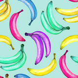 wzór kolorowych bananów na niebieskim tle - 267138258