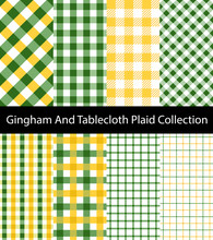 Collection Of Green And Yellow Gingham / Tablecloth Patterns. Seamless Checkered And Square Texture Backgrounds.