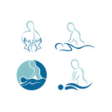Massage Logo ,Back Massage In Beauty Salon Physiotherapy Concept
