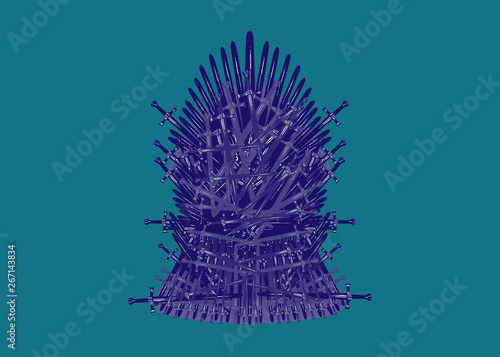 Fototapeta  Hand drawn iron throne of Westeros made of antique swords or metal blades