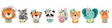 Fototapeta Fototapety na ścianę do pokoju dziecięcego - Cute animals with flowers. Lion, zebra, tiger, panda, elephant, bear, unicorn, giraffe. Illustrations for nursery design, poster, birthday greeting cards.