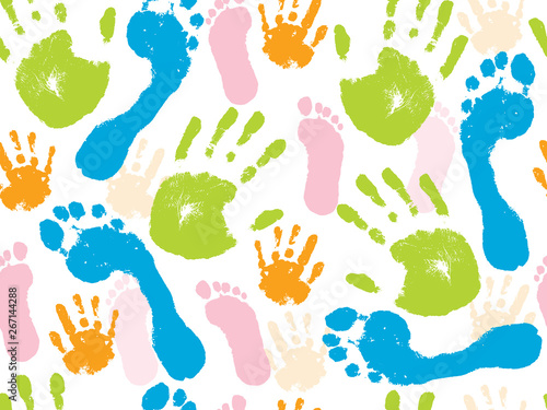 fototapeta na lodówkę Colorful seamless pattern of the human palm of the hand and foot. Vector illustration