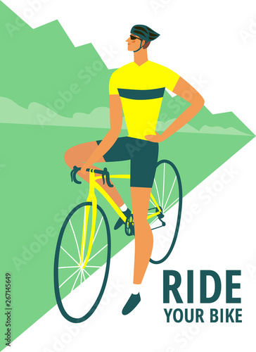 Fotomural Road cyclist poster for your design
