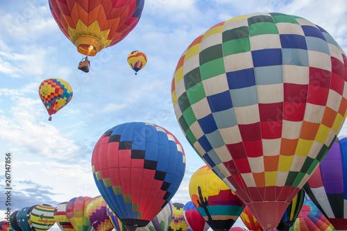 Hot air balloons ascend over Albuquerque, New Mexico, at the International Ballo Canvas Print