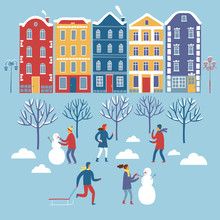 Buildings And Playing Children Winter Set