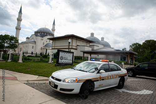 A police vehicle is pictured after the first Friday prayers during the month of Ramadan at