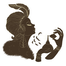 JPEG Portrait In Profile Of Elegant Lady Model In Art Deco. Girl With A Feather In A Short Hairstyle And A Fur Cloak. She Holds Perfume Retro Bottle And Sprays On The Neck. Decorated Dark Silhouette
