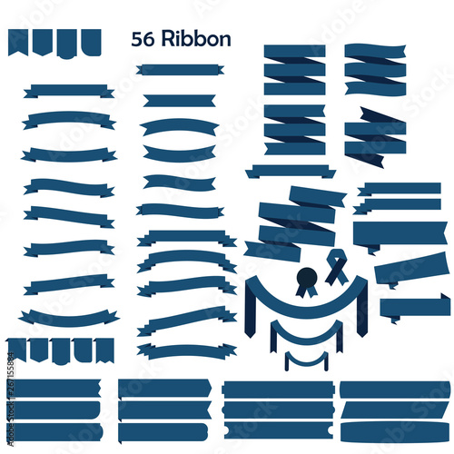 Fototapety, obrazy: set of blue vector ribbon for ads and logo