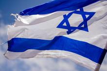 Israeli Flag In Blue Sky