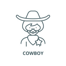 Cowboy Vector Line Icon, Outli...