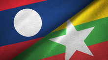 Laos And Myanmar Two Flags Textile Cloth, Fabric Texture