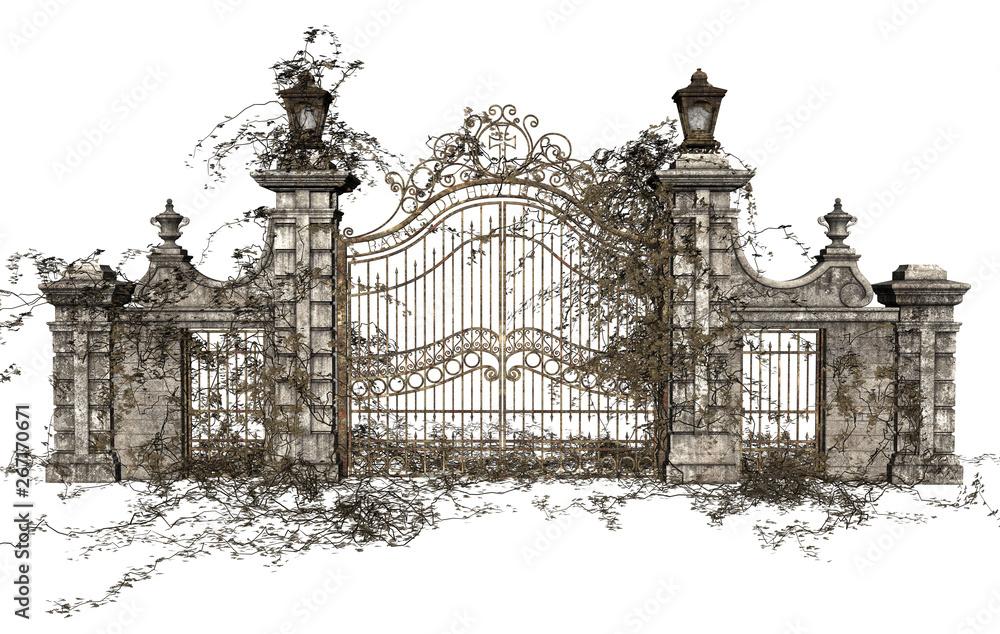 Fototapeta 3D Rendered Cast Iron Gate on White Background - 3D Illustration