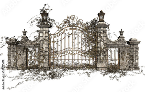 Obraz na plátně 3D Rendered Cast Iron Gate on White Background - 3D Illustration