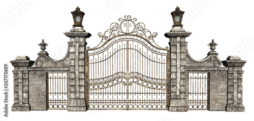 Fototapeta 3D Rendered Cast Iron Gate on White Background - 3D Illustration