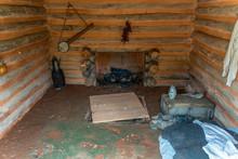 Inside An 18th Century Farm Slave's Cabin.