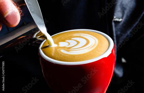 Cafe barista arte en latte Billede på lærred
