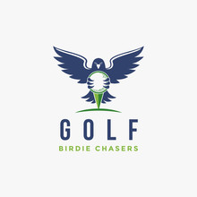 Hawk Bird Holding Golf Ball Logo Icon Illustration Vector On White Background