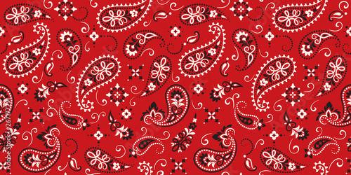 Fotografie, Obraz Seamless pattern based on ornament paisley Bandana Print