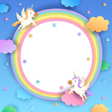 Unicorns Rainbow Frame For Kids
