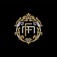Initial Letter M And F, MF, FM, Decorative Ornament Emblem Badge, Overlapping Monogram Logo, Elegant Luxury Silver Gold Color On Black Background