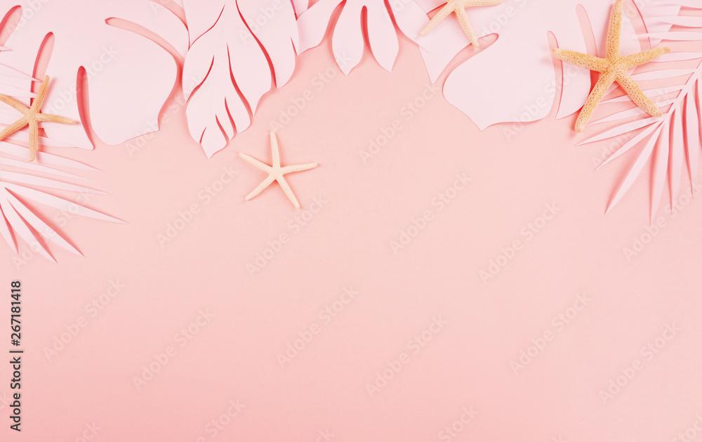 Fototapety, obrazy: 종이 야자수잎, 종이컨셉의 여름배경