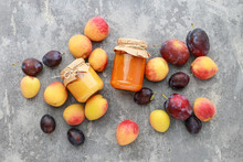 Peaches, Plums And Two Jars Wi...