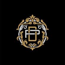 Initial Letter P And D, PD, DP, Decorative Ornament Emblem Badge, Overlapping Monogram Logo, Elegant Luxury Silver Gold Color On Black Background