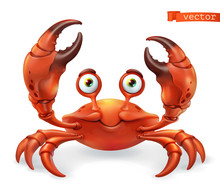 Crab Cartoon Character. Funny Animal 3d Vector Icon