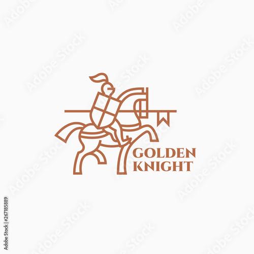 Golden knight logo Fototapeta