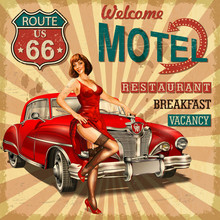 Motel Route 66 Vintage Poster