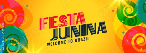 Tableau sur Toile festa junina brazil holiday banner design