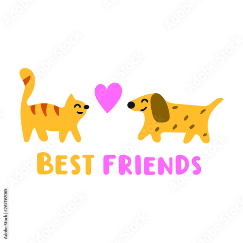 Cute cat and dog - best friends  Funny quote  Hand drawn