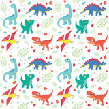 Fototapeta Dinusie - Cute Colorful Baby Dinosaurs on White Background Seamless Pattern Flat Vector Illustration
