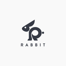 Abstract Letter R For Rabbit Logo Icon Vector Template On White Background
