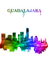 Guadalajara Mexico Skyline Portrait Rainbow
