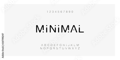 Fototapeta Minimal font creative modern alphabet. Typography with dot regular and number. minimalist style fonts set. vector illustration obraz
