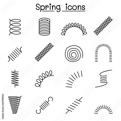 Obraz Spring, coil and absorber icon set in thin line style - fototapety do salonu