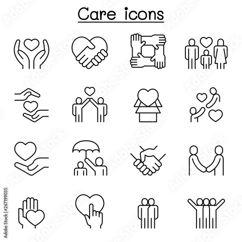 Fotografie, Obraz Care, generous and sympathize icon set in thin line style