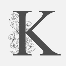 Uppercase Letter K With Flowers And Branches. Vector Flowered Monogram Or Logo. Hand Drawn Concept. Botanical Design Branding. Composition Of Letter And Flowers For Wedding Card, Invitations, Brand