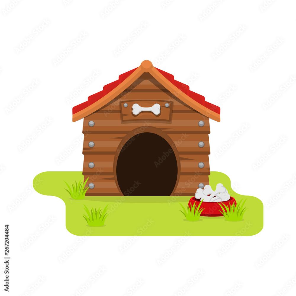 Fototapety, obrazy: Dog House cartoon flat style. isolated on white background. Vector illustration